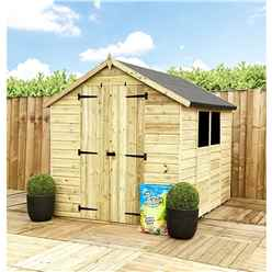 9 x 8 **Flash Reduction** Super Saver Pressure Treated Tongue & Groove Apex Shed + Double Doors + Low Eaves + 2 Windows