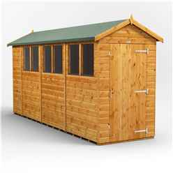 14 x 4 Premium Tongue and Groove Apex Shed - Single Door - 6 Windows - 12mm Tongue and Groove Floor and Roof