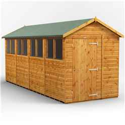 16 x 6 Premium Tongue and Groove Apex Shed - Single Door - 8 Windows - 12mm Tongue and Groove Floor and Roof