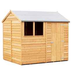 ** IN STOCK LIVE BOOKING  ** ** FLASH REDUCTION** 8 x 6 (2.39m x 1.83m) - Reverse - Super Value Overlap - Apex Wooden Shed - 1 Window - Single Door - 8mm Solid OSB Floor - CORE