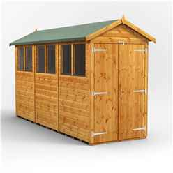 12 x 4 Premium Tongue and Groove Apex Shed - Double Doors - 6 Windows - 12mm Tongue and Groove Floor and Roof