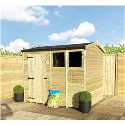 "8 x 8 **Flash Reduction** REVERSE Super Saver Pressure Treated Tongue And Groove Single Door Apex Shed (High Eaves 72"") + 2 Windows"