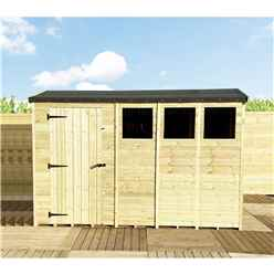 "14 x 8 **Flash Reduction** REVERSE Super Saver Pressure Treated Tongue And Groove Single Door Apex Shed (High Eaves 74"") + 3 Windows"
