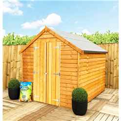 ** FLASH REDUCTION** 8 x 6 (2.39m x 1.83m) - Super Value Overlap - Apex Wooden Shed - Windowless - Double Doors - 8mm Solid OSB Floor