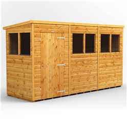 12 x 4 Premium Tongue and Groove Pent Shed - Single Door - 6 Windows - 12mm Tongue and Groove Floor and Roof
