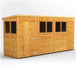 14 x 4 Premium Tongue and Groove Pent Shed - Single Door - 6 Windows - 12mm Tongue and Groove Floor and Roof