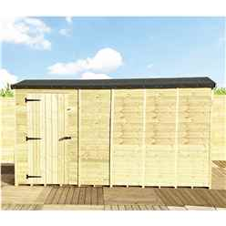 "14 x 4 **Flash Reduction** REVERSE Windowless Super Saver Pressure Treated Tongue And Groove Single Door Apex Shed (High Eaves 72"")"