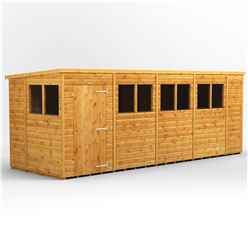 16 x 6 Premium Tongue and Groove Pent Shed - Single Door - 6 Windows - 12mm Tongue and Groove Floor and Roof