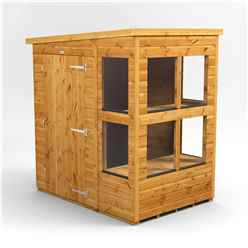 6 x 4 Premium Tongue and Groove Pent Potting Shed - Single Door - 8 Windows - 12mm Tongue and Groove Floor and Roof
