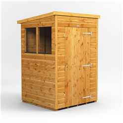 4 x 4 Premium Tongue and Groove Pent Shed - Double Doors - 2 Windows - 12mm Tongue and Groove Floor and Roof