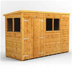 10 x 4 Premium Tongue and Groove Pent Shed - Double Doors - 4 Windows - 12mm Tongue and Groove Floor and Roof