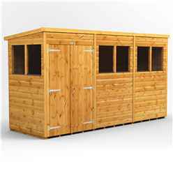 12 x 4 Premium Tongue and Groove Pent Shed - Double Doors - 6 Windows - 12mm Tongue and Groove Floor and Roof