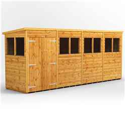 16 x 4 Premium Tongue and Groove Pent Shed - Double Doors - 8 Windows - 12mm Tongue and Groove Floor and Roof