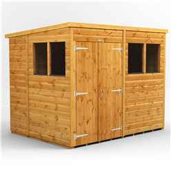 8 x 6 Premium Tongue and Groove Pent Shed - Double Doors - 4 Windows - 12mm Tongue and Groove Floor and Roof
