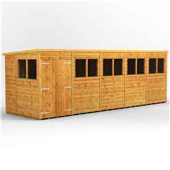 20 x 6 Premium Tongue and Groove Pent Shed - Double Doors - 10 Windows - 12mm Tongue and Groove Floor and Roof