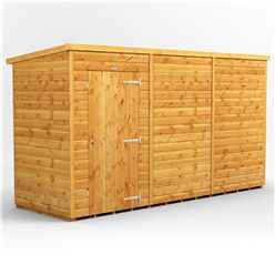 12 x 4 Premium Tongue and Groove Pent Shed - Single Door - Windowless - 12mm Tongue and Groove Floor and Roof