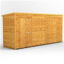 14 x 4 Premium Tongue and Groove Pent Shed - Single Door - Windowless - 12mm Tongue and Groove Floor and Roof