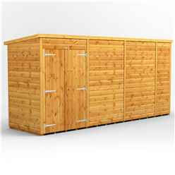 14 x 4 Premium Tongue and Groove Pent Shed - Double Doors - Windowless - 12mm Tongue and Groove Floor and Roof