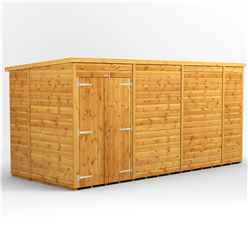 14 x 6 Premium Tongue and Groove Pent Shed - Double Doors - Windowless - 12mm Tongue and Groove Floor and Roof