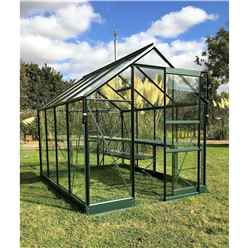 6ft x 8ft Premier Low Threshold Green Frame Greenhouse