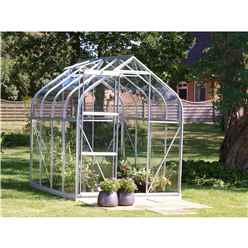 6ft x 8ft Premier Single Door Aluminium Greenhouse - Curved Eaves