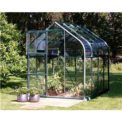6ft x 8ft Premier Single Door Green Frame Greenhouse - Curved Eaves