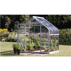 8ft x 6ft Premier Double Doors Aluminium Greenhouse - Curved Eaves