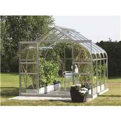 8ft x 8ft Premier Double Doors Aluminium Greenhouse - Curved Eaves