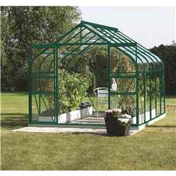 8ft x 14ft Premier Double Doors Green Metal Greenhouse - Curved Eaves