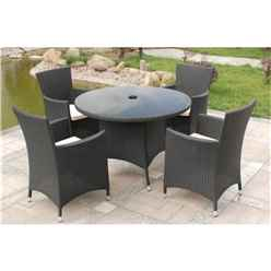 4 Seater Cannes Ebony Black Dining Set - Free Next Working Day Delivery (Mon-Fri)