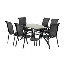 6 Seater Black Cayman Rectangular Dining Set with Stacking Chairs  - Free Next Working Day Delivery (Mon-Fri)