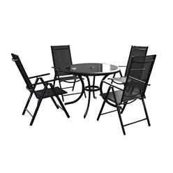 4 Seater Black Cayman Round Dining Set with Reclining Chairs  - Free Next Working Day Delivery (Mon-Fri)