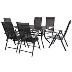 6 Seater Black Cayman Rectangular Dining Set with Reclining Chairs  - Free Next Working Day Delivery (Mon-Fri)