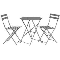 2 Seater Grey Taupe Folding Padstow Bistro Set - Free Next Working Day Delivery (Mon-Fri)