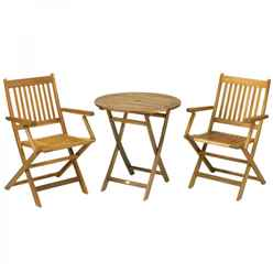 2 Seater York Folding Bistro Set - Round Table & 2 Folding Bistro Armchairs - Free Next Working Day Delivery (Mon-Fri)