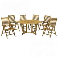 6 Seater Henley Gateley Dining Set With 6 Recliner Armchairs and a Lazy Susan - Free Next Working Day Delivery (Mon-Fri)
