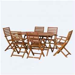 6 Seater Torino Oval Dining Set with 6 Folding Armchairs - Free Next Working Day Delivery (Mon-Fri)