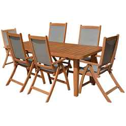 6 Seater Broadway Rectangular Dining Set with Grey Textylene Armchairs - Free Next Working Day Delivery (Mon-Fri)