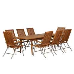 8 Seater Langkawi Extending Dining Set with 8 Stainless Steel Recliner Chairs - Free Next Working Day Delivery (Mon-Fri)