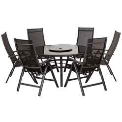 6 Seater Black Sorrento Round Deluxe Recliner Set with Lazy Susan - Free Next Working Day Delivery (Mon-Fri)