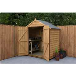 INSTALLED 4ft x 6ft Security Overlap Apex Garden Shed - Double Doors - Windowless - Modular (1.8m x 1.3m) - INCLUDES INSTALLATION - *Double Doors are on the 6ft Side.