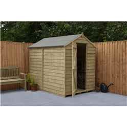 INSTALLED 7ft x 5ft Pressure Treated Overlap Apex Wooden Garden Shed With Single  Door (1.5m x 2.2m) - Modular - INCLUDES INSTALLATION