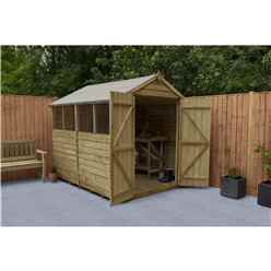 8ft x 6ft Pressure Treated Overlap Apex Wooden Garden Shed - Modular -  Double Door (2.4m x 1.9m)