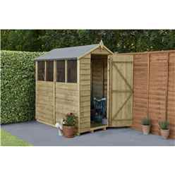 INSTALLED 6ft X 4ft Pressure Treated Overlap Apex Wooden Garden Shed With 4 Window (1.8m x 1.3m) - Modular - INCLUDES INSTALLATION
