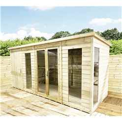 14 x 9 COMBI Pressure Treated Tongue & Groove Pent Summerhouse with Higher Eaves and Ridge Height + Side Shed + Toughened Safety Glass + Euro Lock with Key