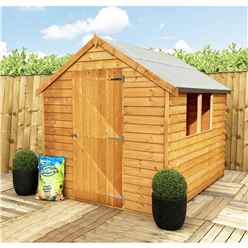 INSTALLED 8 x 6 (2.39m x 1.83m) - Pressure Treated - Super Value Overlap - Apex Wooden Shed - 2 Windows - Single Door - 8mm Solid OSB Floor - INSTALLATION INCLUDED