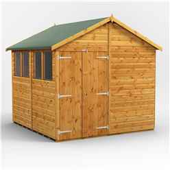 8 x 8  Premium Tongue and Groove Apex Shed - Double Door - 4 Windows - 12mm Tongue and Groove Floor and Roof