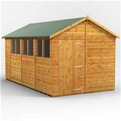 14 x 8  Premium Tongue and Groove Apex Shed - Single Door - 6 Windows - 12mm Tongue and Groove Floor and Roof