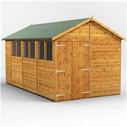 14 x 8  Premium Tongue and Groove Apex Shed - Double Doors - 6 Windows - 12mm Tongue and Groove Floor and Roof