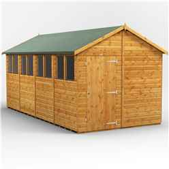 16 x 8  Premium Tongue and Groove Apex Shed - Single Door - 8 Windows - 12mm Tongue and Groove Floor and Roof